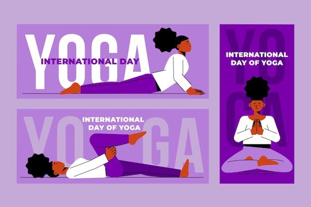 Journée internationale plate du jeu de bannières de yoga