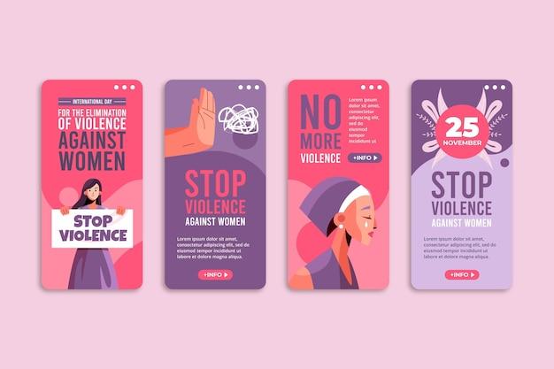 Journée internationale plate pour l'élimination de la violence à l'égard des femmes collection d'histoires instagram