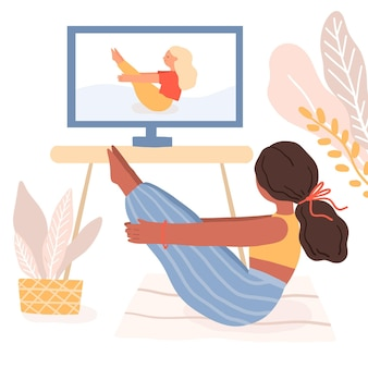 Journée internationale de posture de yoga en classe en ligne