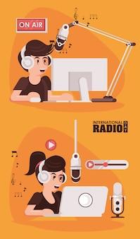 Journée internationale de la radio avec un couple d'annonceurs