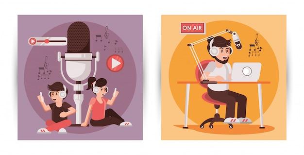 Journée internationale de la radio avec des personnages annonceurs