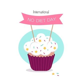 Journée internationale sans régime. délicieux gâteau sucré, topper et lettrage. icône de dessert mignon. illustration vectorielle plane. convient pour la carte de voeux, l'affiche, la bannière et le design. décoration pour les vacances de printemps