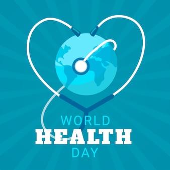 Journée internationale de la santé au design plat