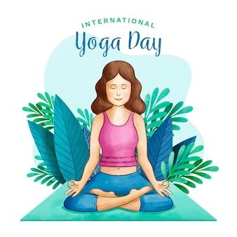 Journée internationale de yoga aquarelle avec femme et feuilles