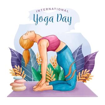 Journée internationale de yoga aquarelle avec femme et rochers