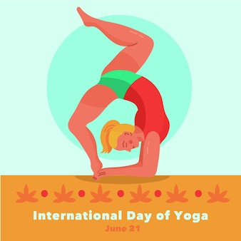 Journée internationale de yoga dessinée à la main
