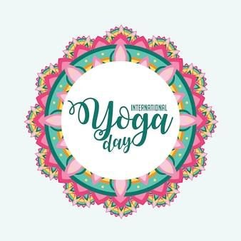Journée internationale de yoga avec l'ornement de mandala