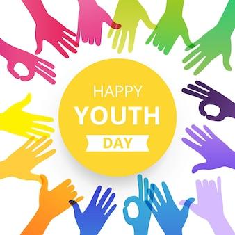 Journée des jeunes heureux silhouettes de mains