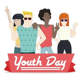 Journée de la jeunesse design plat