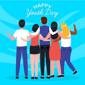 Journée de la jeunesse dessinée à la main - les gens se serrant ensemble