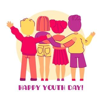 Journée de la jeunesse avec des jeunes s'embrassant