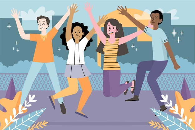 Journée de la jeunesse avec des jeunes sautant