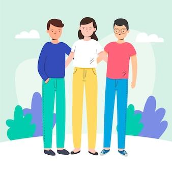 Journée de la jeunesse avec des jeunes se serrant ensemble
