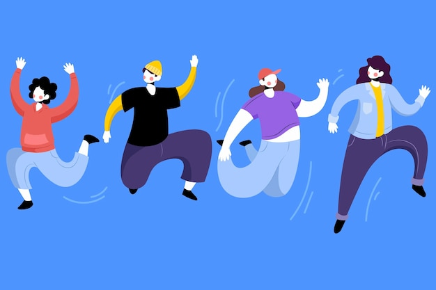 Journée de la jeunesse avec pack de personnes sautant