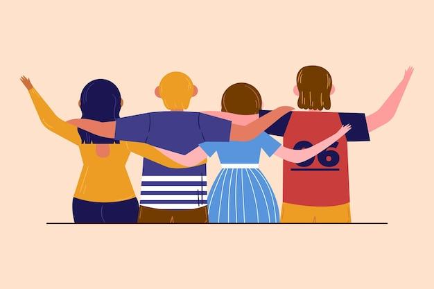 Journée de la jeunesse à plat - les gens se serrant ensemble