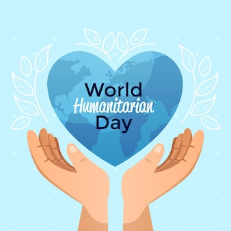 Journée mondiale de l'aide humanitaire avec les mains tenant une planète en forme de coeur