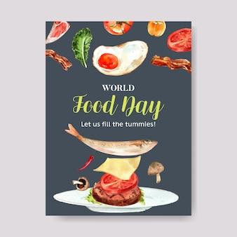 Journée mondiale de l'alimentation affiche avec oeuf au plat, poisson, fromage, illustration aquarelle aux champignons.