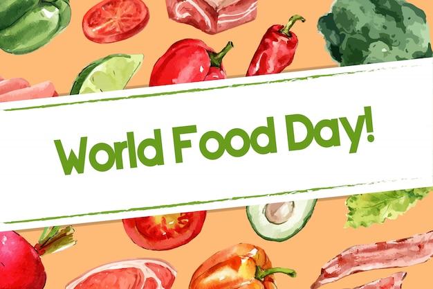 Journée mondiale de l'alimentation cadre avec piment, tomate, poivron, illustration aquarelle de bacon.