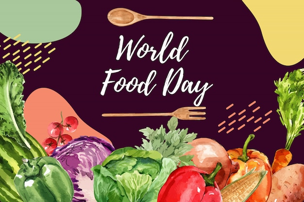 Journée mondiale de l'alimentation cadre avec poivron, chou, illustration aquarelle oignon.