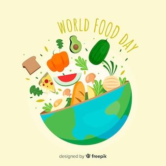 Journée Mondiale De L'alimentation Dessiné à La Main Vecteur Premium