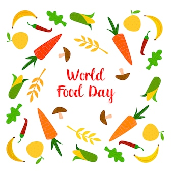 Journée mondiale de l'alimentation avec des fruits colorés, des viandes et des légumes