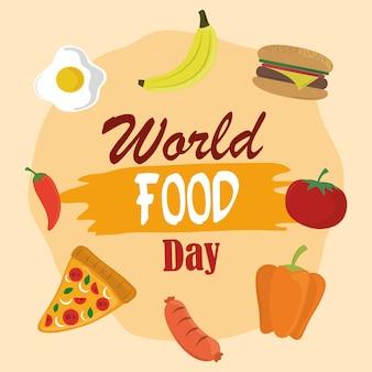 Journée mondiale de l'alimentation, repas de mode de vie sain pizza burger fruits légumes.