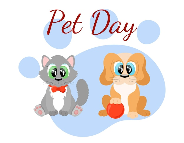 Journée mondiale des animaux de compagnie personnages mignons de chat et de chien de dessin animé animaux drôles chiot et chaton assis t