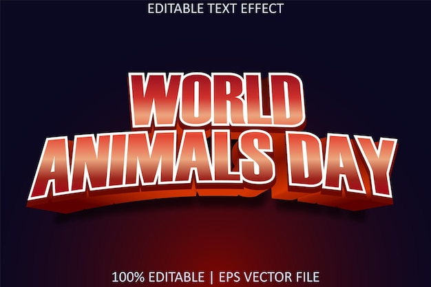 Journée mondiale des animaux avec effet de texte modifiable de style moderne