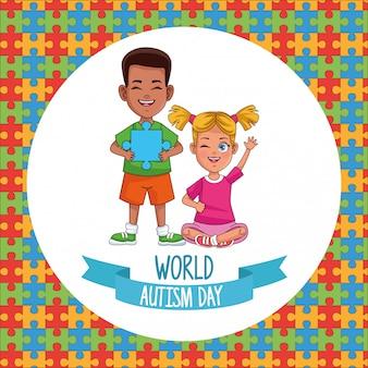 Journée mondiale de l'autisme enfants couple avec pièces de puzzle vector illustration design