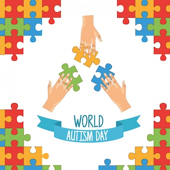 Journée mondiale de l'autisme avec les mains jouant au puzzle