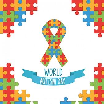 Journée mondiale de l'autisme avec des pièces de puzzle en ruban