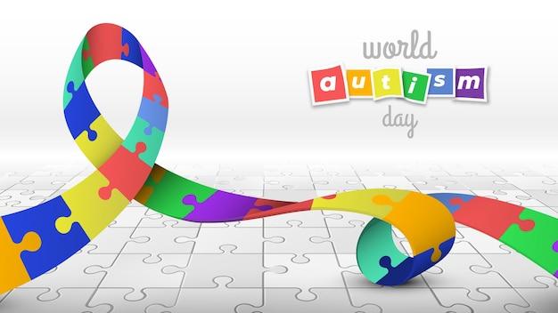 Journée mondiale de l'autisme avec ruban coloré