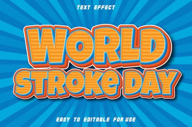 Journée mondiale de l'avc avec effet de texte modifiable dans le style comique en relief