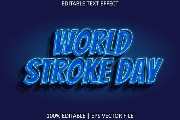 Journée mondiale de l'avc avec effet de texte modifiable de style néon