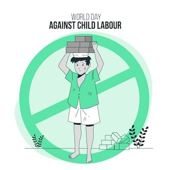 Journée mondiale contre l'illustration du concept de travail des enfants