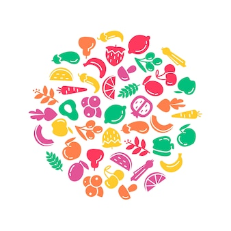 Journée mondiale de la santé biologique. Illustration de fond de fruits et légumes
