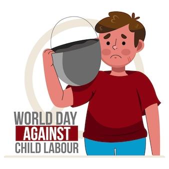 Journée mondiale de dessin animé contre l'illustration du travail des enfants