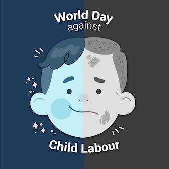 Journée mondiale dessinée à la main contre l'illustration du travail des enfants