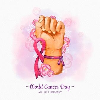 Journée mondiale du cancer à l'aquarelle