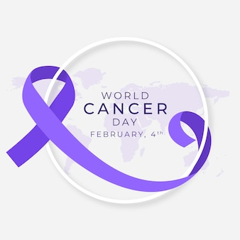 Journée mondiale du cancer au design plat