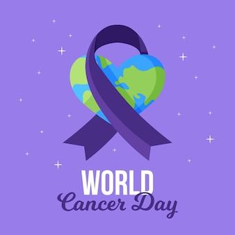 Journée mondiale du cancer au design plat