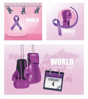 Journée mondiale du cancer définie des icônes d'affiche