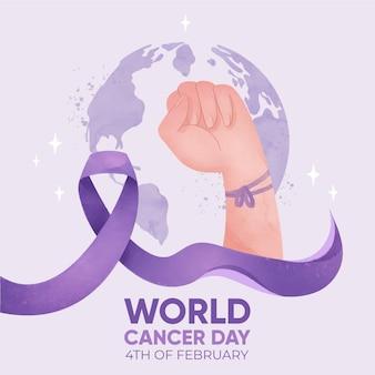 Journée mondiale du cancer de fond aquarelle