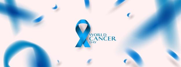 Journée mondiale du cancer avec ruban bleu.