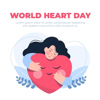 Journée mondiale du cœur au design plat