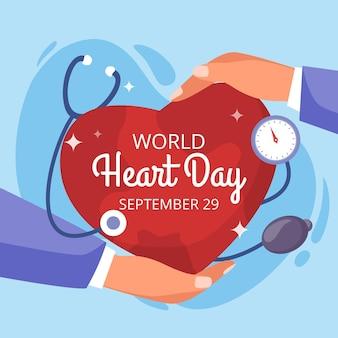 Journée mondiale du cœur design plat avec stéthoscope et mains