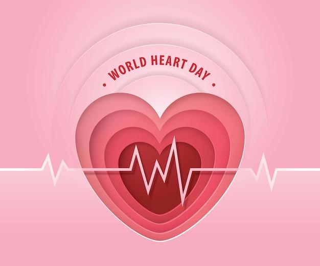 Journée mondiale du cœur sur un design plat