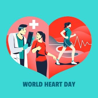 Journée mondiale du cœur dessiné à la main avec un médecin