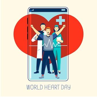 Journée mondiale du cœur dessiné à la main avec téléphone