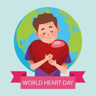Journée mondiale du cœur avec l'homme étreignant le cœur et la planète.